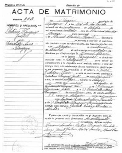 certificado de matrimonio en Huesca